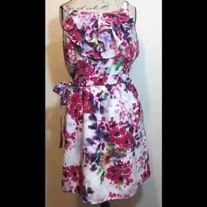 Express Sleeveless Floral dress Pink Purple Large